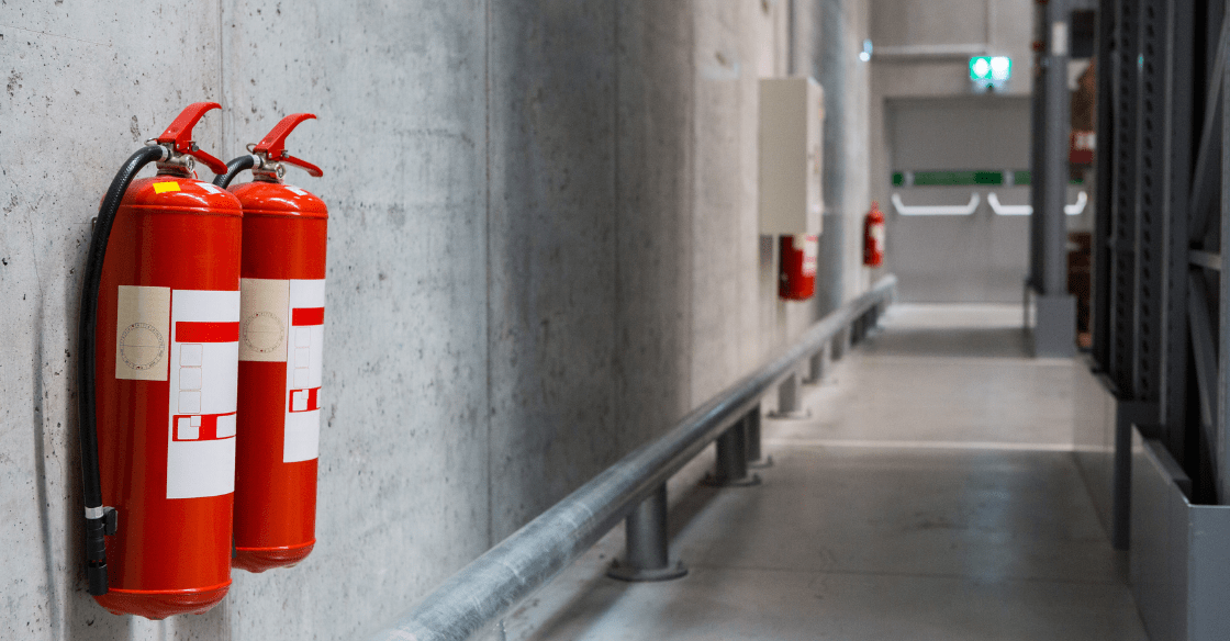 Commercial building following fire safety codes